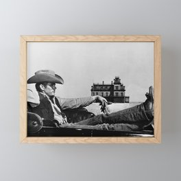 Mr. Dean in Cowboy Hat Classic Hollywood Iconic black and white photograph Framed Mini Art Print