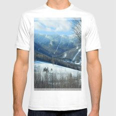 Ski Trails at Sugarbush Resort, Vermont LARGE Mens Fitted Tee White
