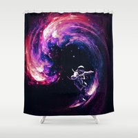 surfing Shower Curtains featuring Space Surfing by nicebleed