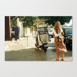 Girl at a Coffee Stand Canvas Print