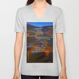 Love, Joy and Abundance Mantra - Cynthia Price Painting Unisex V-Neck