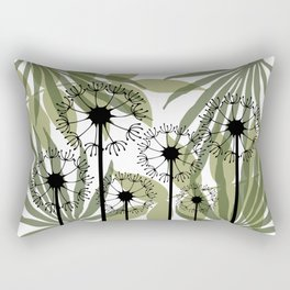 Mixed Leaves with Dandelions Flowers green white Rectangular Pillow