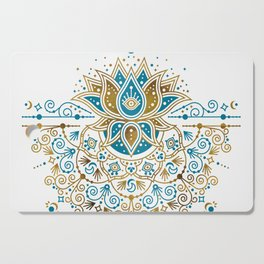 Sacred Lotus Mandala – Teal & Bronze Palette Cutting Board