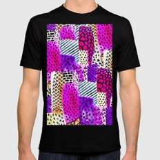Modern pink watercolor abstract geometric hand painted pattern Mens Fitted Tee Black MEDIUM