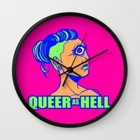 queer Wall Clocks featuring QUEER AS HELL by Яussia