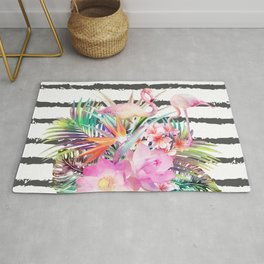 Tropical floral leaves and flamingos stripes Rug