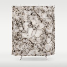 Bronze and Gold Veined Faux Marble Repeat Shower Curtain