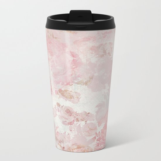 Vintage Floral Rose Roses painterly pattern in pink on #Society6 Metal Travel Mug