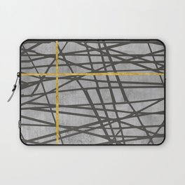 Black abstract black and gold lines on concrete - Mix & Match with Simplicty of life Laptop Sleeve