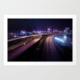 Burnside bridge light painting Art Print