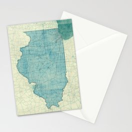 Illinois State Map Blue Vintage Stationery Cards