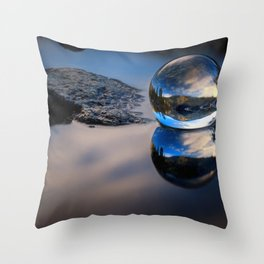 Reflections of Reflections Castle Lake in a crytsal ball photograph Throw Pillow