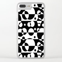 Black White Geometric Circle Abstract Modern Print Clear iPhone Case