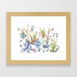 A Succulent Mixture Botanical Design Framed Art Print