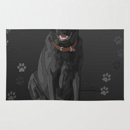 Black Labrador Retriever Paw Prints Rug