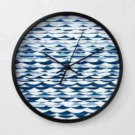 Glitch Waves - Classic Blue Wall Clock