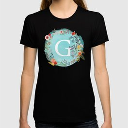 Personalized Monogram Initial Letter G Blue Watercolor Flower Wreath Artwork T-shirt