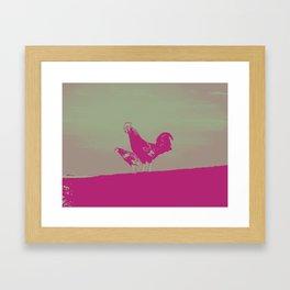 Sunset rooster Framed Art Print