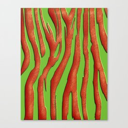Bright Green & Orange Zebra Print Canvas Print