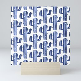 Mid Century Modern Desert Cactus Pattern 847 Indigo Blue Mini Art Print