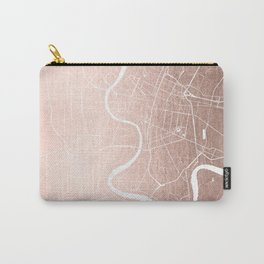 Bangkok Thailand Minimal Street Map - Rose Gold Pink and White II Carry-All Pouch