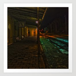 nightly side line train station Art Print