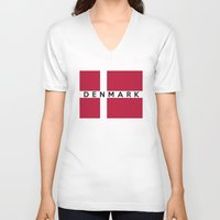 denmark V-neck T-shirts featuring Denmark country flag name text by tony tudor