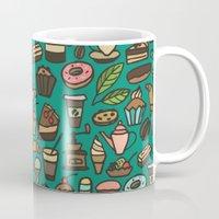 macaroon Mugs featuring Coffee and pastry  by Julia Badeeva