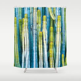 Colorful cactus painting Shower Curtain