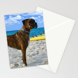 BOXER DOG SURFER BEACH BUM AND FRIEND Stationery Cards