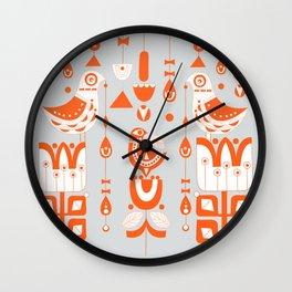Danish Sun Birds and Flowers Wall Clock