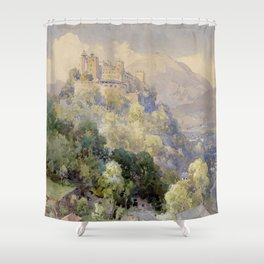 Overlooking the Hohenwerfen Fortress in Salzburg by Edward Theodor Compton Shower Curtain