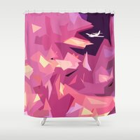plane Shower Curtains featuring Plane Abstraction by Shelby Babbert Photography