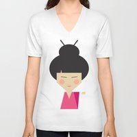 geisha V-neck T-shirts featuring Geisha by Page 84 Design