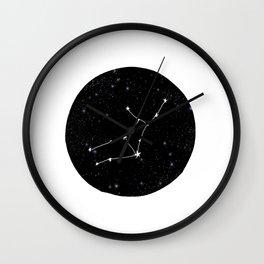 Virgo star sign zodiac star chart constellation black and white Wall Clock