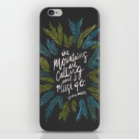 the mountains are calling iPhone & iPod Skins featuring Mountains Calling – Charcoal by Cat Coquillette