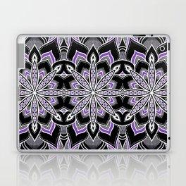 Mandala: Black White Purple FLower Laptop & iPad Skin