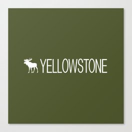 Yellowstone National Park: Moose (Green) Canvas Print