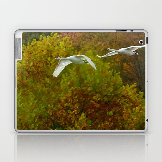 Swans in flight Laptop & iPad Skin