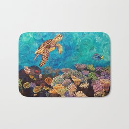 A Look around - Sea turtle in the reef Bath Mat