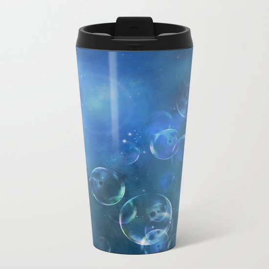 floating bubbles blue watercolor space background Metal Travel Mug
