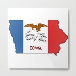 Iowa Map with Iowan Flag Metal Print