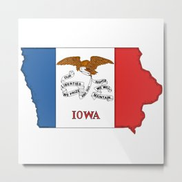 Iowa Map with Iowan Flag Metal Print