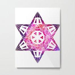 Metatron's Cube Time Wheel ~ Space Lily Metal Print
