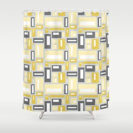 Simple Geometric Pattern in Yellow and Gray Shower Curtain