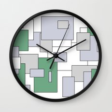 Squares - green, gray and white. Wall Clock