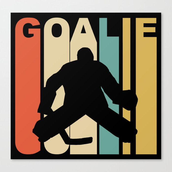 Retro 1970 S Style Hockey Goalie Silhouette Sports Canvas Print By