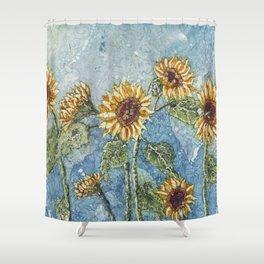 Watercolor Sunflowers,Watercolor Batik, Sunflower Art,Sunflower Flower Shower Curtain