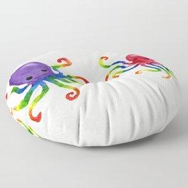 Little Rainbow Octopuses Floor Pillow
