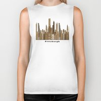 pittsburgh Biker Tanks featuring Pittsburgh skyline vintage by bri.buckley